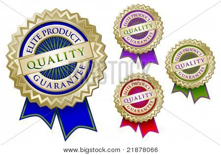 Set of Four Colorful Quality Elite Product Guarantee Emblem Seals With Ribbons.