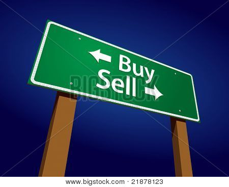Buy, Sell Green Road Sign Vector Illustration on a Radiant Blue Background.