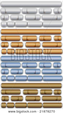 gold, silver, bronze and blue metallic vector buttons