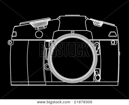 Drawing of camera in the form of white lines on black background