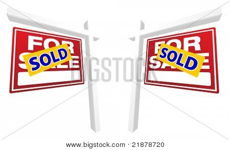 Pair of Red For Sale Real Estate Signs with Sold in Perspective. Please see my variations on this theme - more vector Real Estate signs.