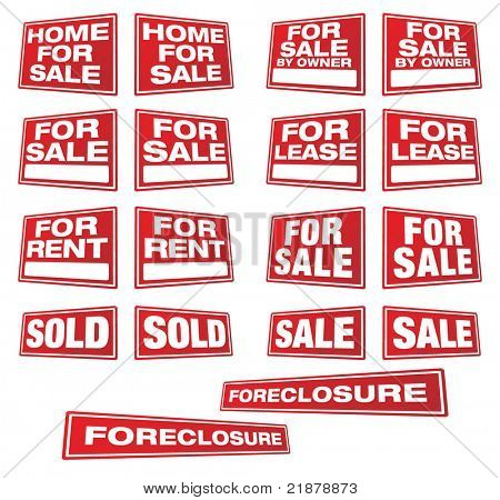 Various Real Estate and Business Signs in Right and Left Perspective. Please see my variations on this theme - other vector Real Estate signs.
