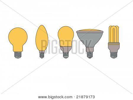 conjunto de vários tipos de lâmpadas, com 2 lâmpadas eficientes de energia