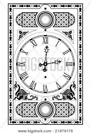 elegant victorian clock face and hands with decorative elements