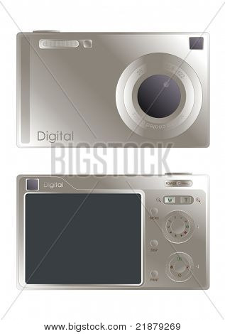 digital camera illustration fully editable and isolated on white background