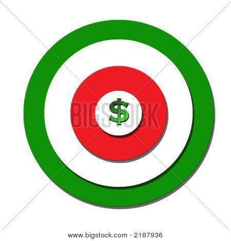 Money Bullseye On Dartboard