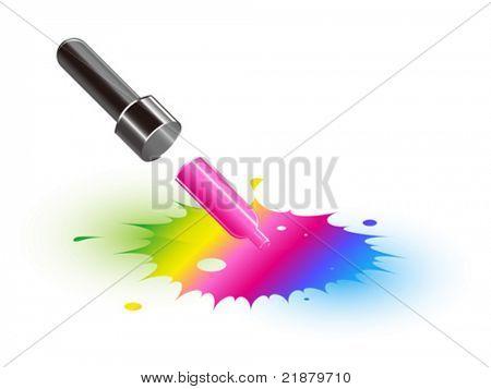 gotero Vector icono toma pintura del talón de color, inkblots