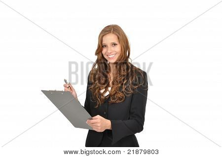 Businesswoman In A Suit And A Clipboard