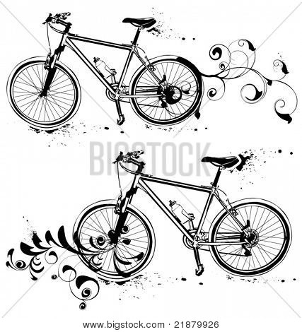 Detailed illustration of a modern mountain bike