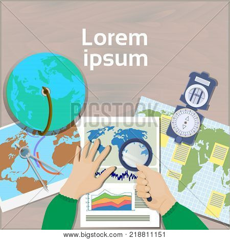 poster of Hand Hold Magnifying Glass Study Maps Top Angle View Of Workplace Geography And Cartography Concept Flat Vector Illustration