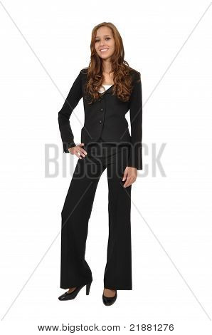 Businesswoman In A Suit Stands Model