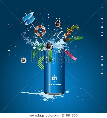 vector blue tin with a spray of liquid