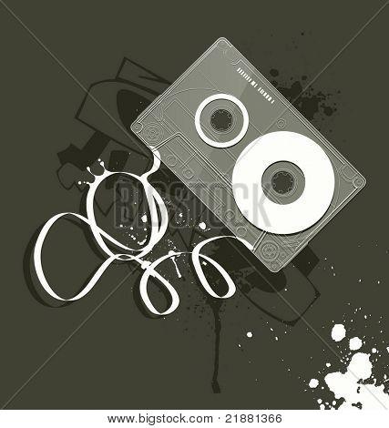 vector cassette, grunge style of music equipment