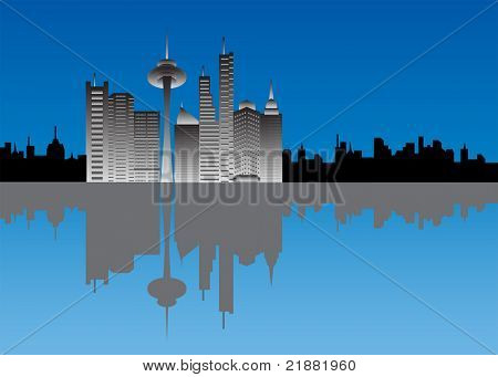 Downtown buildings with silhouette skyline