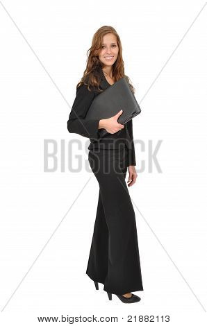 Businesswoman In A Suit And Laptop Sideways