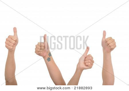 Four Thumbs Up With Flowers