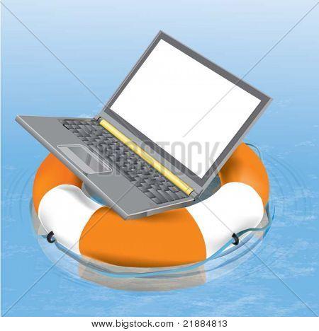 Notebook lifesaver. Vector illustration.