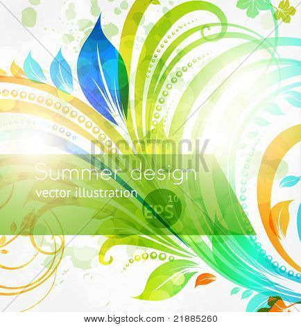 Floral summer design elements with sun shine. Flower abstract bright background for retro design. Vector. eps 10.
