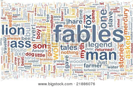 Background concept wordcloud illustration of fables