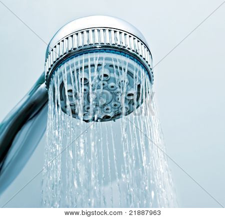Flowing water from the shower