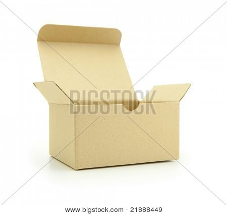 Cardboard box with flip open lid, lid open, isolated on white.