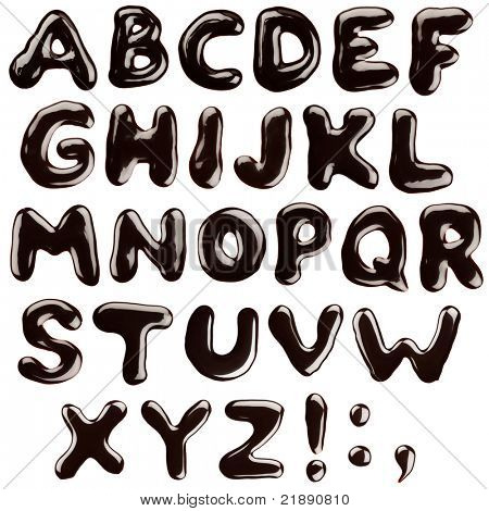 Alphabet written with chocolate syrup, isolated