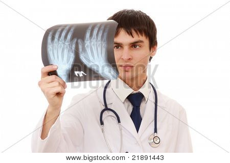 A young male doctor with an X-ray picture