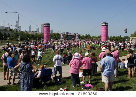CHICAGO - JUNE 5, 2011: Participants and supporters at the final ceremony festivities at the Avon Walk for Breast Cancer outside Soldier Field on June 5, 2011 in Chicago, IL.
