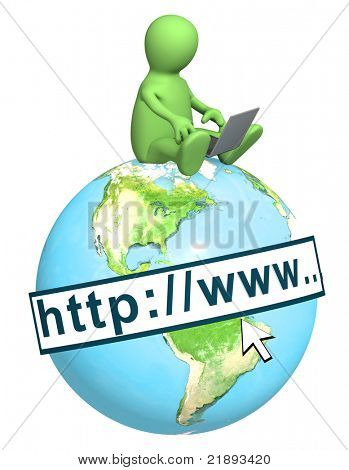 Puppet with laptop on Earth. Isolated over white