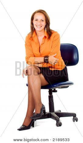 Business Woman Portrait On A Chair