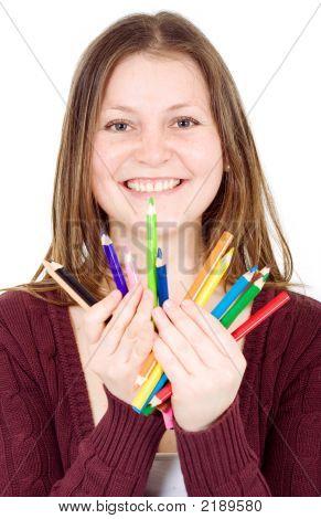 Girl Holding Colour Pencils