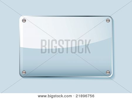 Transparent clear glass company name plate with room for text