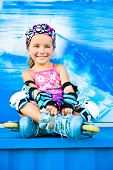 Cute girl in roller skates