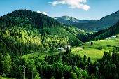 Green meadows and mountains, summer landscape poster