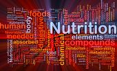 Background concept wordcloud illustration of nutrition food health glowing light