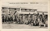Machine Gun Practice - Early 1900's WWI postcard depicting soldiers practicing machine gun drills at