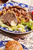 Uzbek national dish - plov with horse meat