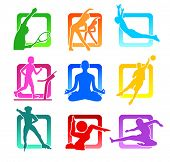 picture of person silhouette  - Colorful icons with fitness people silhouettes - JPG