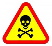 picture of non-toxic  - Warning sign with skull symbol isolated on white - JPG