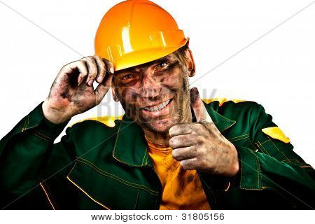oil industry worker on a white background