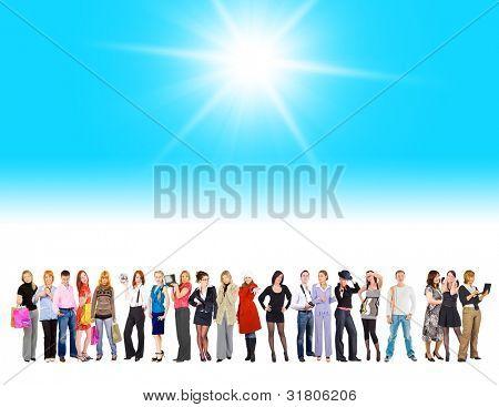 Sol brillante grupo aislado