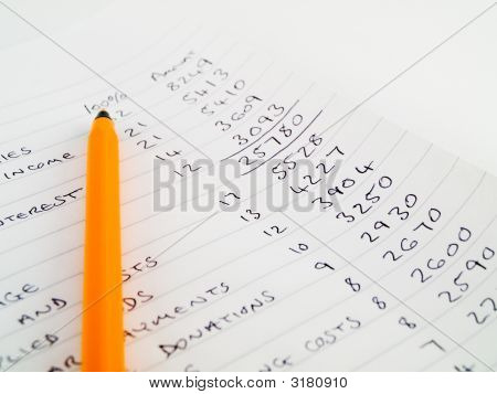 Handwritten Home Budget On Lined Notebook Paper