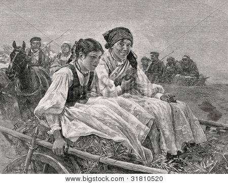 Returning from the fair. Engraving by Kirmze from picture by  Verush-Kowalski. Published in magazine