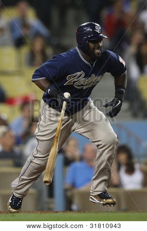 LOS ANGELES - SEP 23: San Diego Padres CF #18 Tony Gwynn during the Padres vs. Dodgers game on Sept 23 2010 at Dodgers Stadium.