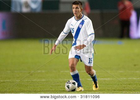 CARSON, CA. - DEC 29: Guatemalan National Team M Manuel Leon #15 during the Club America vs Guatemala holiday soccer friendly