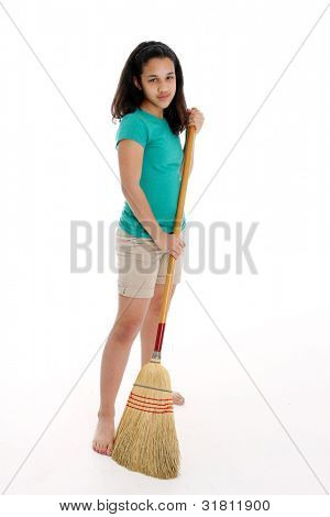 Teen Girl Doing Her Chore of Sweeping