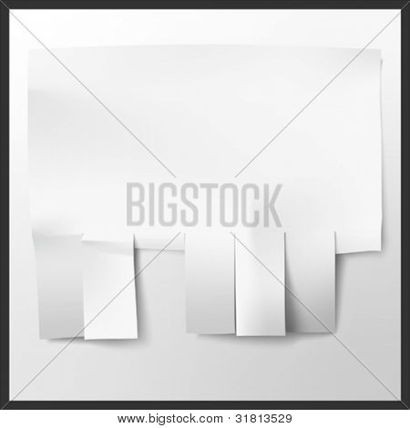 Blank advertisement with cut slips. Vector.