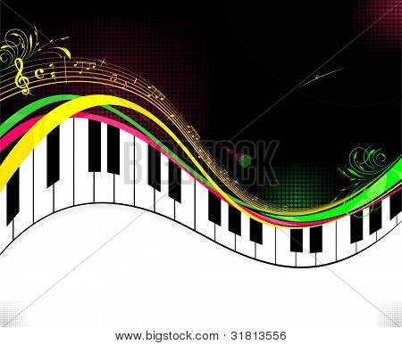 Black piano music background