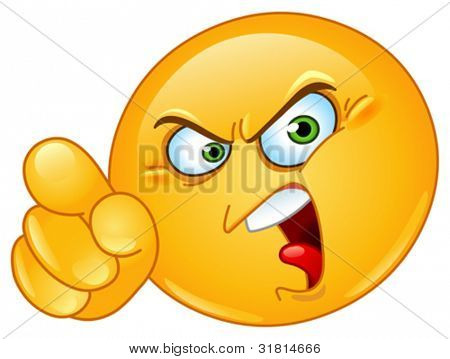 Angry emoticon pointing an accusing finger