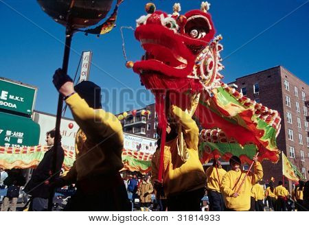 FLUSHING, NY - JANUARY 24: A dragon dance team dances as they participate in a Chinese New Year celebration on January 24, 2001 in Flushing, NY.